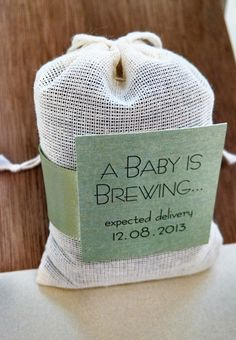 What better way to celebrate the arrival of a new baby then with these adorable A Baby is Brewing favors. These little bags of comfort make unique party