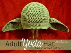 Free Adult Yoda Hat Crochet Pattern!!! FINALLY FOUND THIS FREE PATTERN!