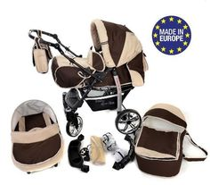 3-in-1 Travel System incl. Baby Pram with Swivel Wheels, Car Seat, Pushchair & Accessories, Brown & Beige - http://www.curiositycreates.co.uk/3-in-1-travel-system-incl-baby-pram-with-swivel-wheels-car-seat-pushchair-accessories-brown-beige/