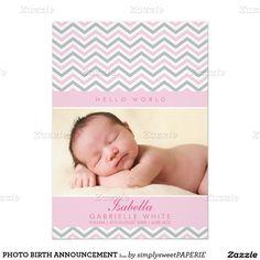 PHOTO BIRTH ANNOUNCEMENT : sweet chevron pale pink