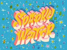 Sparky Water designed by Mary Kate McDevitt. Connect with them on Dribbble; the global community for designers and creative professionals. Landscape Design Software, Typographie Inspiration, Time Design, Water Me, Typography Letters, Letter Art, Mary, Design Inspiration, Neon Signs