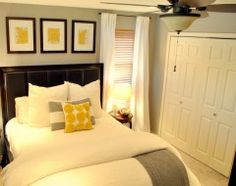 Yellow & grey bedroom -- nice guest room -- this site has lots of other great decorating ideas