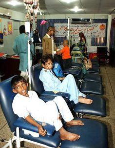 HYDERABAD: May07 – Patients of Thalassemia receiving blood during blood transfusion in Fatmid Thalassemia Center.