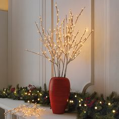 Electric Pre-lit Branch Garland at Brookstone—Buy Now!