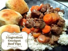Crockpot Three Ingredients Beef Tips 3 pounds stew beef 1 can cream of onion soup 1 can cream of mushroom soup low for hours or high for Crock Pot Slow Cooker, Crock Pot Cooking, Slow Cooker Recipes, Crockpot Recipes, Casserole Recipes, Crock Pots, Crockpot Dishes, Beef Tip Recipes, Beef Tips