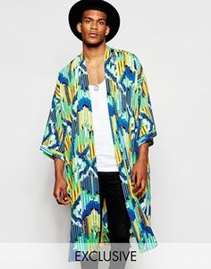 Kimono by Reclaimed Vintage Lightweight woven fabric All-over-print Open front Drop shoulders Wide, cropped sleeves Relaxed fit Machine wash Polyester Our model wears a size Medium and is cm tall Exclusive to ASOS Kimono Outfit, Boho Kimono, Kimono Fashion, Asos, Reclaimed Vintage, Rose Costume, Mens Printed Shirts, Male Kimono, Models