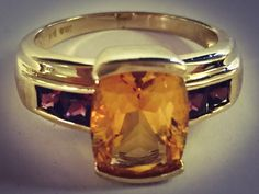 Antique Synthetic Citrine Lady's Stone Ring 10K Yellow Gold 4.16g Size:7.3