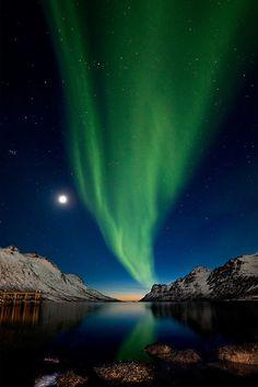 Aurora Borealis over fjord Ersfjordbotn, Norway. Photo by Ole Salomonsen.
