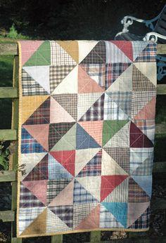 Serendipity Patch: Quilt  made from old mens' shirts. http://serendipitypatch.blogspot.com/2011/11/shirt-quilt-ta-dah.html