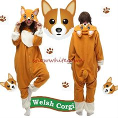Adult Animal Welsh Corgi Dog Onesies Fleece Kigurumi Pajamas Cosplay Sleepwear…