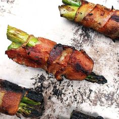 Grilled bacon wrapped asparagus is a simple summer appetizer