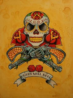 Sugar skulls, traditional tattoo, pistols. I would lose the banner