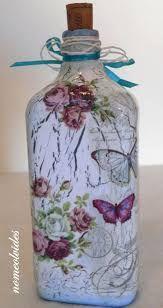 Resultado de imagen para botellas de vidrio decoradas con decoupage