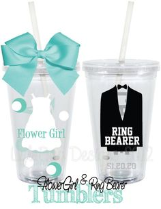 tumblers-flower girl and ring bear.. Great idea so drinks dont get spilled and make a mess at the bridal table @saragreene