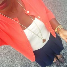 navy skirt, women fashion, Work Outfits Business Casual