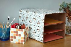 Reuse shipping & packaging boxes to organize in style with fabric and paper-covered boxes. Fabric Covered Boxes, Fabric Boxes, Diy Storage Boxes, Craft Storage, Cheap Storage, Storage Ideas, Ways To Recycle, Reduce Reuse Recycle, Upcycle