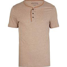 Brown contrast trim grandad t-shirt Now $12.80