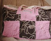 Embroidered patchwork fabric tote bag in pink and chocolate recycled fabric
