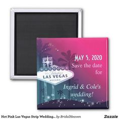 Hot Pink Las Vegas Strip Wedding Save the Date 2 Inch Square Magnet Unique Save The Dates, Wedding Save The Dates, Save The Date Invitations, Invitation Set, Palm Tree Silhouette, Glitter Wedding, Save The Date Magnets, Las Vegas Weddings, Las Vegas Strip