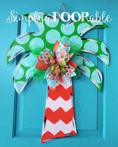 Palm Tree Wood Door Hanger by SimplyaDOORable! Palm Tree Door Decor, Palm Tree…