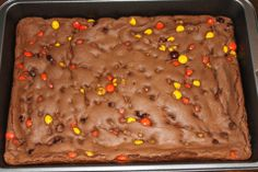 Cake Mix Bar Cookies – Chocolate Reese's Pieces Bars | Penny's Food Blog