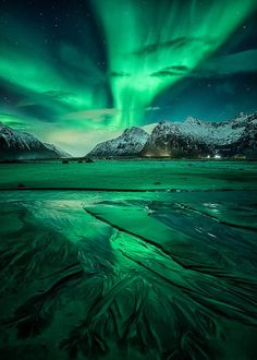 nordlys ] ~ aurora borealis, Flakstad, Lofoten, Northern Norway by D-P… Lofoten, Beautiful Sky, Beautiful Landscapes, Beautiful Norway, Landscape Photography, Nature Photography, Waterfalls Photography, Photography Pics, Scenic Photography