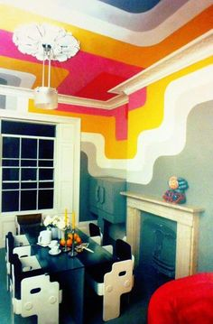 colorful dining room Dining Room Colors, Brit Pop, Living Room, Room Ideas, British, Colorful, Inspiration, Design, Home Decor