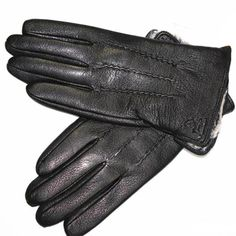 Guantes Winter Gloves Men's Leather Gloves Deerskin Thickened Water Wave Style Fake Lining Autumn And Winter Warm