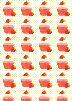 FREE printable fruity strawberry summer cupcake paper