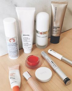 if you were ever curious about my daily makeup routine this is what i use: @firstaidbeauty ultra repair hydrating serum @glossier priming moisturizer @marcjacobsbeauty coconut primer @glossier coconut balm dot com @bareminerals complexion rescue @clinique all about eyes concealer @rms lip2cheek @blinc tube mascara and @glossier boy brow. these are the products i finish to the last drop and always come back to again and again.