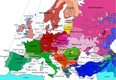 Linguistic map of Europe from 1914