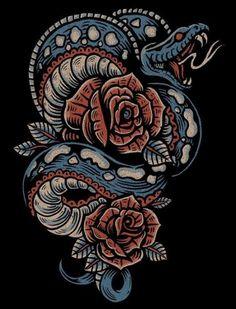 tattoos - 37 Best ideas for tattoo snake design illustrations Hai Tattoos, Rose Tattoos, Body Art Tattoos, Sleeve Tattoos, Kobra Tattoo, Tatto Old, Americana Tattoo, Illustration Vector, Design Illustrations