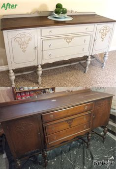 Annie Sloan Chalk Paint in French linen, clear wax, dark wax. Painted Sideboard, White Painted Furniture, Refurbished Furniture, Paint Furniture, Repurposed Furniture, Dining Room Furniture, Furniture Makeover, Home Furniture, Painted Buffet