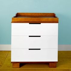 Baby Mod Parklane Changer Amber And White Solid Wood Removable Changing Table