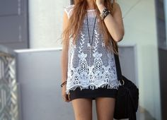 White Lace Over Black Tunic Dress