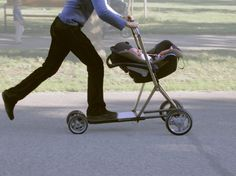 now we're talkin - Baby Stroller Scooter  http://www.gizmag.com/roller-buggy-stroller-scooter-hybrid/15140/picture/114762/
