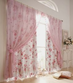 Window treatment ~ floral curtains behind, coordinating sheer in front ~ instead of other way around