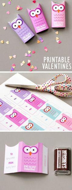 Owl Valentines Free Printable | Click Pic for 26 DIY Valentines Day Crafts for Kids to Make | Easy Valentine Crafts for Toddlers to Make