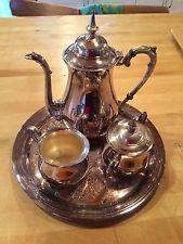 VINTAGE BEAUTIFUL SHERIDAN SILVERPLATE ON COPPER TEA /COFFEE 4 Piece Set/SERVICE