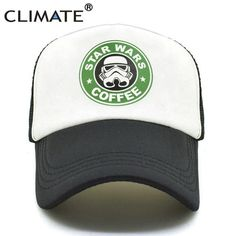 583dab20e5c38 CLIMATE Star War Funny Caps Men Women Cool Trucker Caps Star War Coffee  Jedi Funny Summer Caps Baseball Mesh Net Trucker Cap Hat