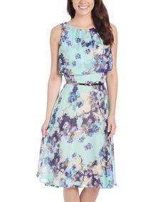SL Fashions Mint Floral Belted A-Line Dress by SL Fashions #zulily #zulilyfinds