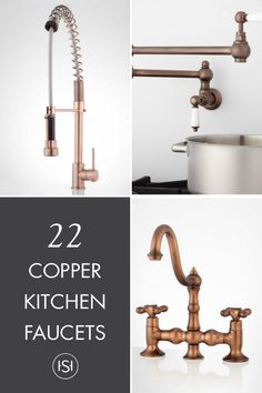 polished-copper pull-down kitchen faucet   kitchen faucets
