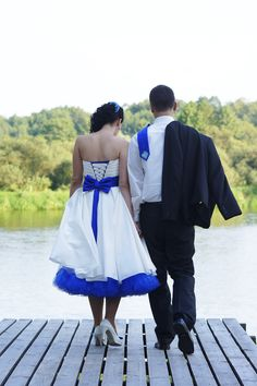 Kolorowa suknia slubna krótka short wedding dress saphir
