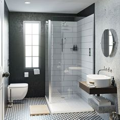 Finding room for everything in your bathroom can be tricky. In our bathroom layout guide, we'll help you plan your space, with handy bathroom clearance guidelines and more. Small Bathroom Interior, Loft Bathroom, Upstairs Bathrooms, Bathroom Layout, Basement Bathroom, Modern Bathroom, Bathroom Tiling, Family Bathroom, Industrial Showers
