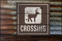 Large Deer Crossing Handcrafted Rustic Wood Sign by AlpineGraphics