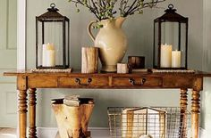 Beautiful entry table ideas to give some inspiration on updating your home or adding fresh and new furniture and decor, Hall table decor, Foyer table decor and Farmhouse sofa table. Sofa Table Decor, Sofa Tables, Table Decorations, Console Tables, Entrance Table Decor, Coffee Decorations, Long Sofa Table, Table Decor Living Room, Couch Table