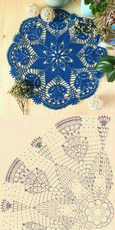 Free Crochet Doily Patterns, Crochet Doily Diagram, Crochet Squares, Filet Crochet, Crochet Doilies, Crochet Lace, Crochet Flowers, Thread Crochet, Crochet Crafts
