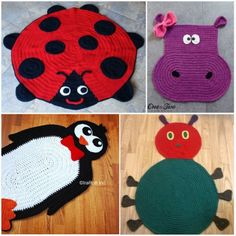 Crochet Ladybug, Hippo, Penguin, Caterpillar Rug Patterns