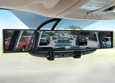 Amazing New Gadgets/ No Blind Spot Mirror: Similar to the one the police uses, this mirror provides you with 180 degree rear view, when standard car mirrors only offer a 52 degree view. Intelligent Design, Car Mirror, Rear View Mirror, Kombi Home, Blinde, Car Gadgets, Travel Gadgets, Technology Gadgets, Car Hacks