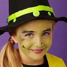 An enchanting take on everyone's favorite frightful costume, this witch adds a touch of glam with purple eyes and a creepy green face. Don't forget the nose wart! imagenes infantiles Halloween Face Paint Ideas for Kids Kids Witch Makeup, Halloween Makeup For Kids, Kids Makeup, Fall Halloween, Makeup Ideas, Halloween Halloween, Kids Halloween Face Paint, Vintage Halloween, Simple Witch Makeup